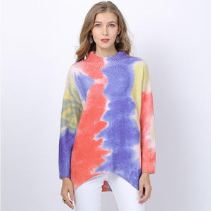 Color-blocked asymmetric pullover sweaters