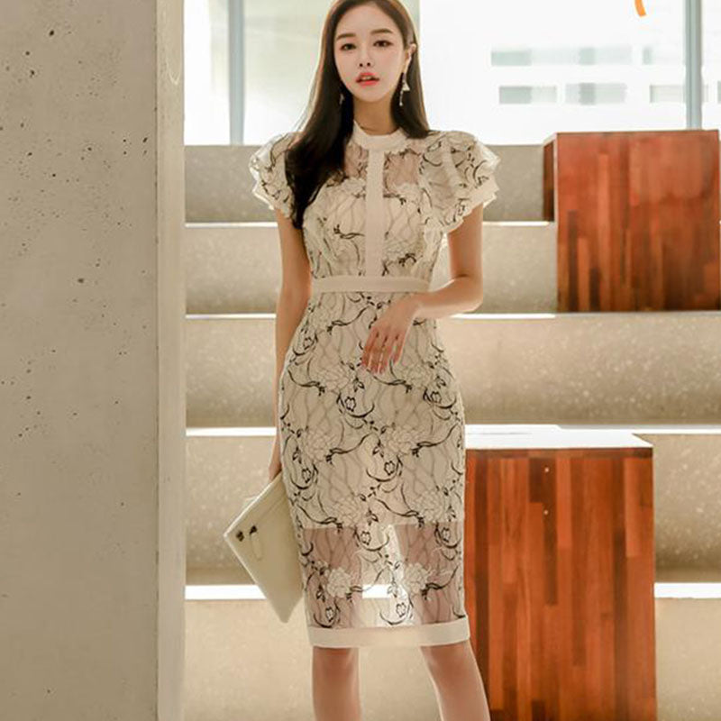 Print high waisted sheath lace dresses