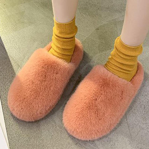 Solid indoors fluffy fur slippers