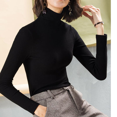 Basic solid turtleneck long sleeve blouses