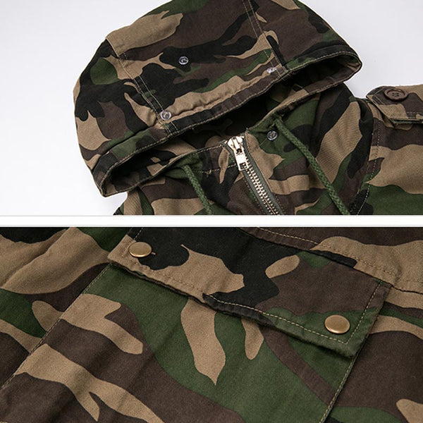 Camouflage hooded drawcord quilted coats - Fancyever