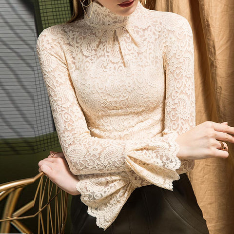 Pullover open work lace flare sleeve blouses