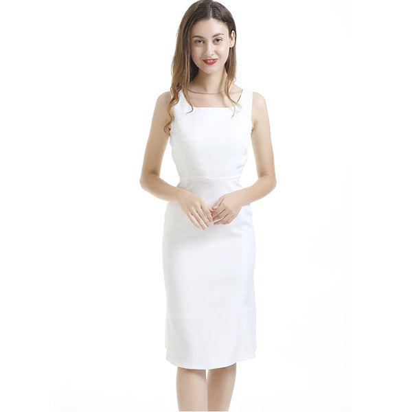 Crew neck sleeveless bodycon dresses-White - Fancyever