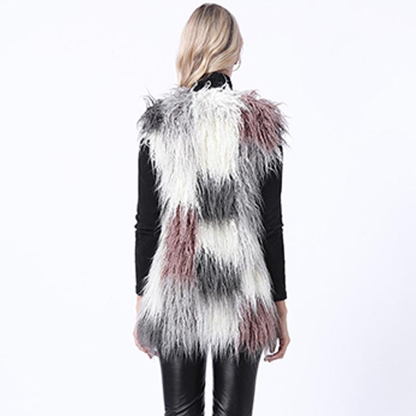 Color-blocked faux fur vests