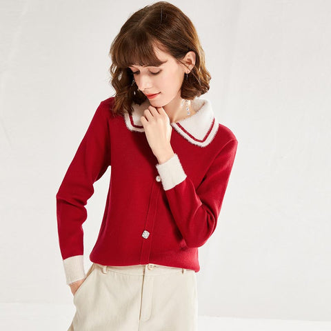 Lapel patchwork buttoned pullover sweaters