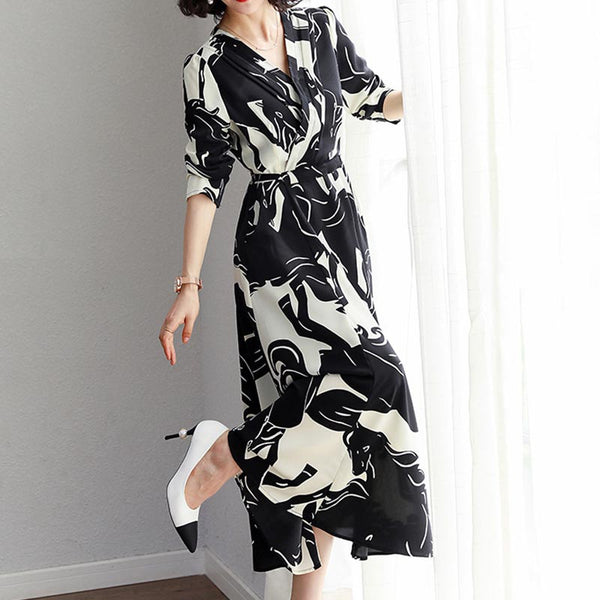 Elegant tie waist a-line chiffon dresses with pockets
