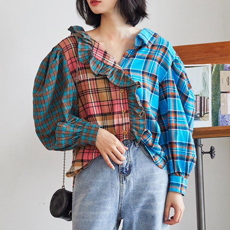 Plaid ruffle patchwork blouses