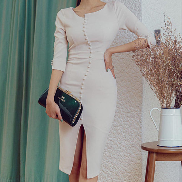 Solid split office 3/4 sleeve bodycon dresses