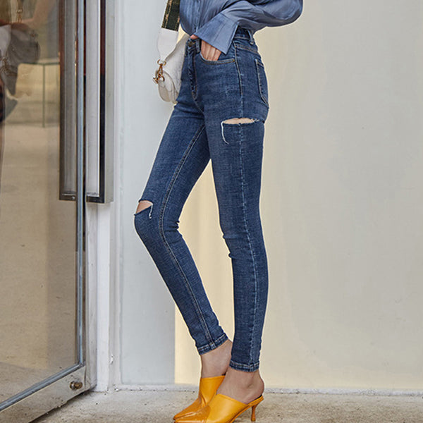 Denim elastic ripped skinny pants - Fancyever