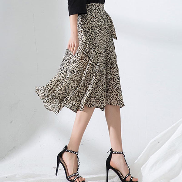 Leopard belted chiffon mermaid skirts - Fancyever