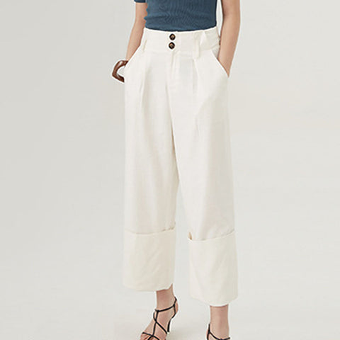 Cotton buttoned wide leg pants - Fancyever