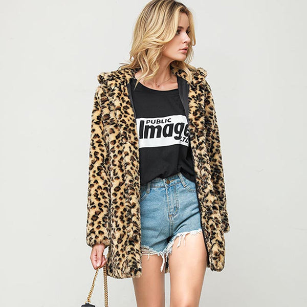 Leopard print hooded faux fur coats