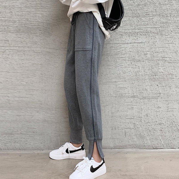 Drawstring solid zip thick joggers