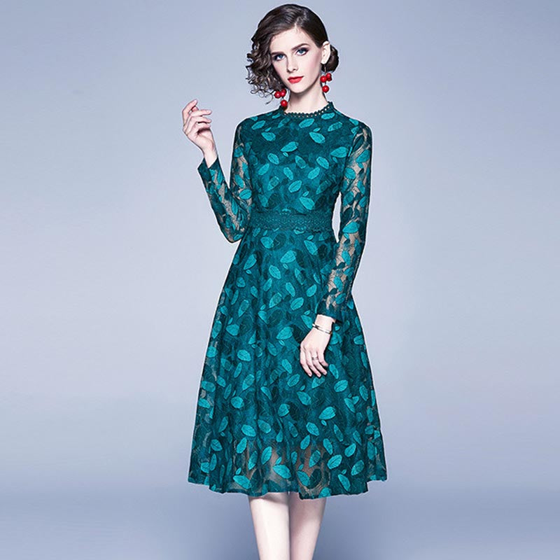 Mock neck slim lace midi dresses