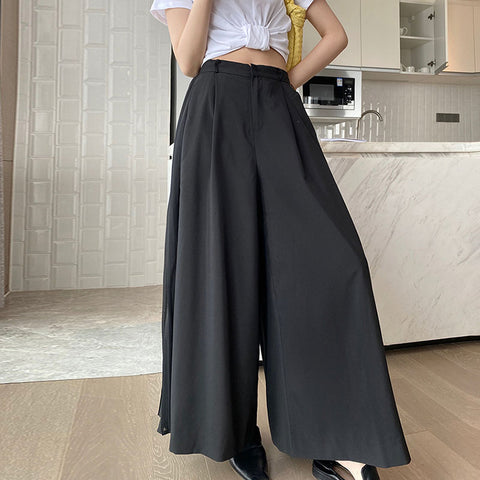 Patchwork side pleated wide leg pants