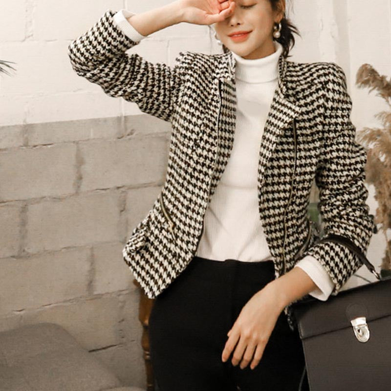 Houndstooth side zipper slim jackets