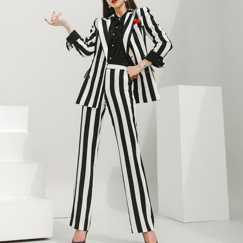 Black & white double breast blazer pant suits