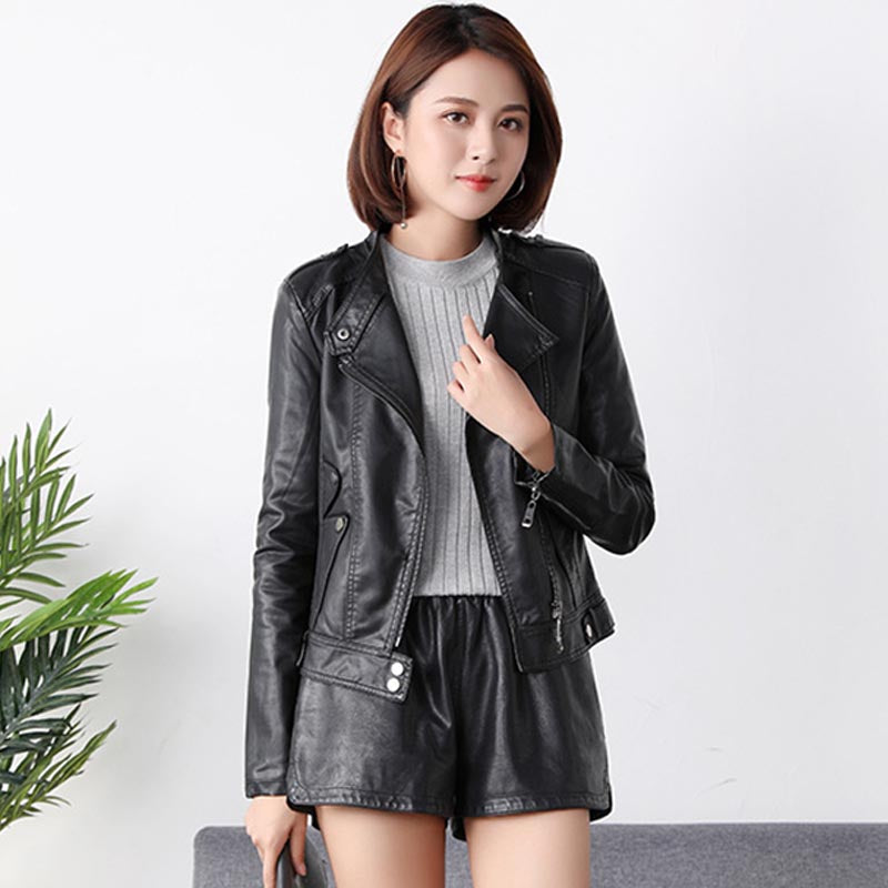 Mock neck faux leather biker jackets