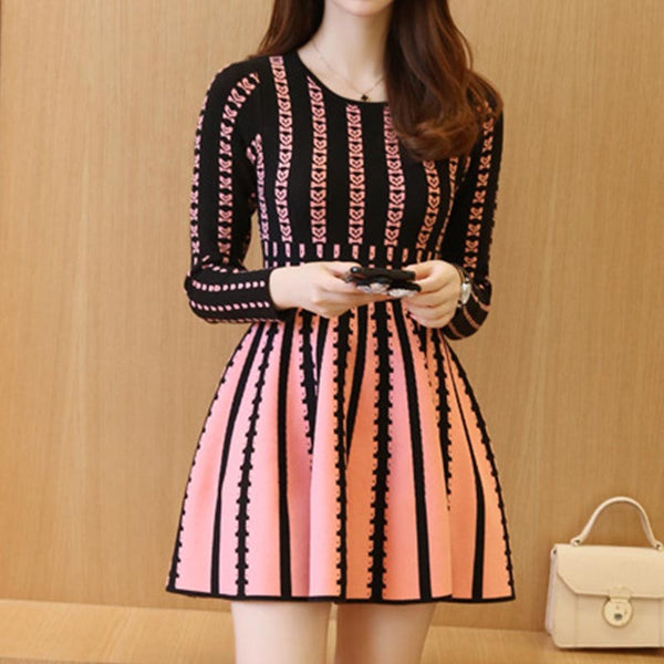 Crew neck high waisted print knitted dresses