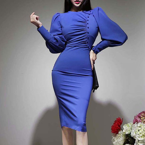 Ruched puff sleeve button decoration bodycon dresses