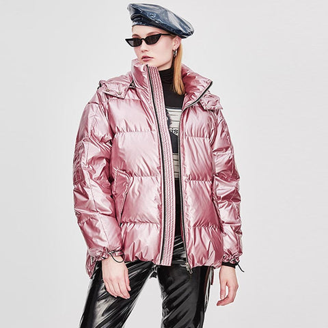 Drawcord high shine puffer jackets