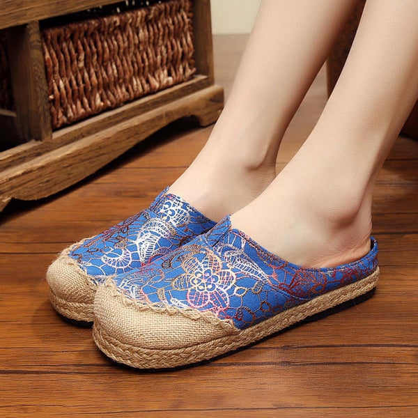 Retro linen embroidered print flats slippers