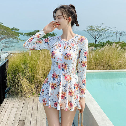 Long sleeve floral one piece conservative bathing suits