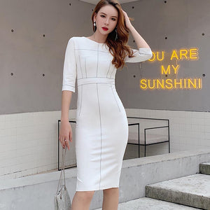Top stitched high waisted bodycon dresses