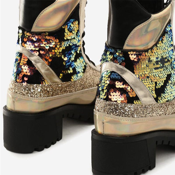 Retro sequin shinny ankle boots