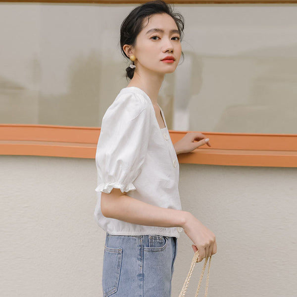 Ruffled square neck retro puff blouses