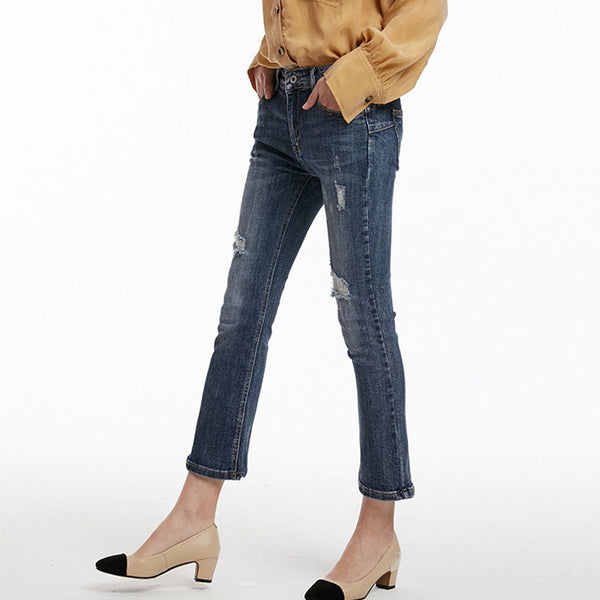 Ripped ankle flare denim pants