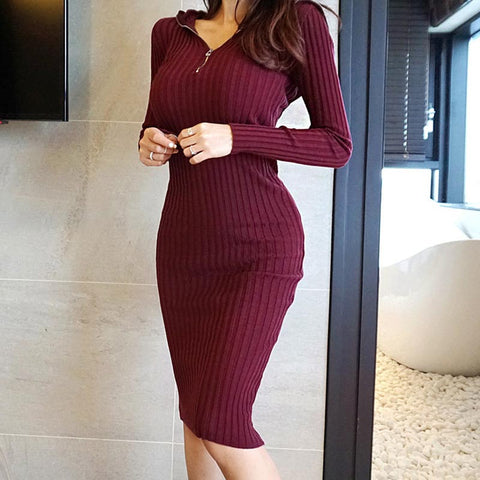 Hooded solid tight basic sweater bodycon dresses