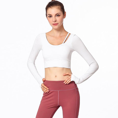 Long sleeve backless cropped sport tops - Fancyever