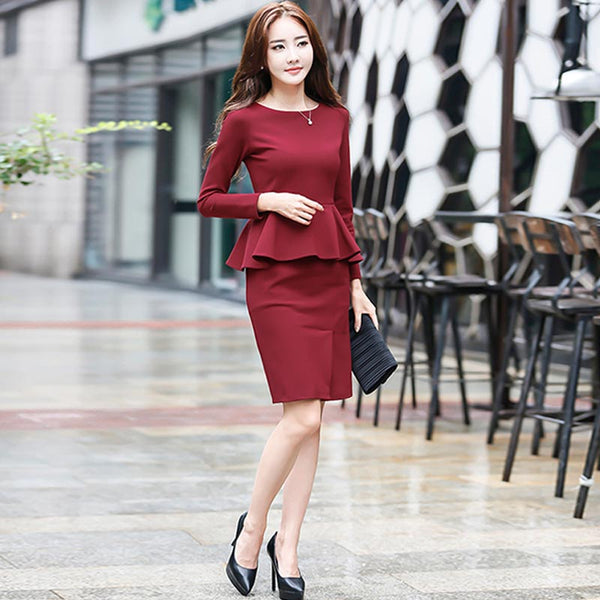 Ruffled office bodycon dresses - Fancyever