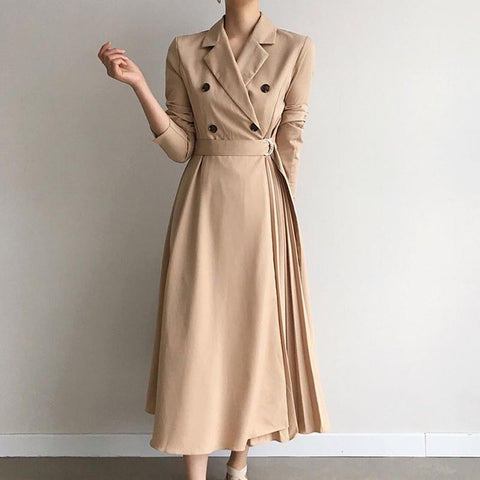 Long sleeve v-neck belted pleated dresses
