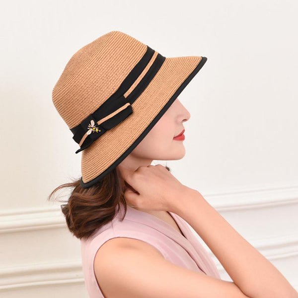 Bowknot color-blocked sun hats - Fancyever
