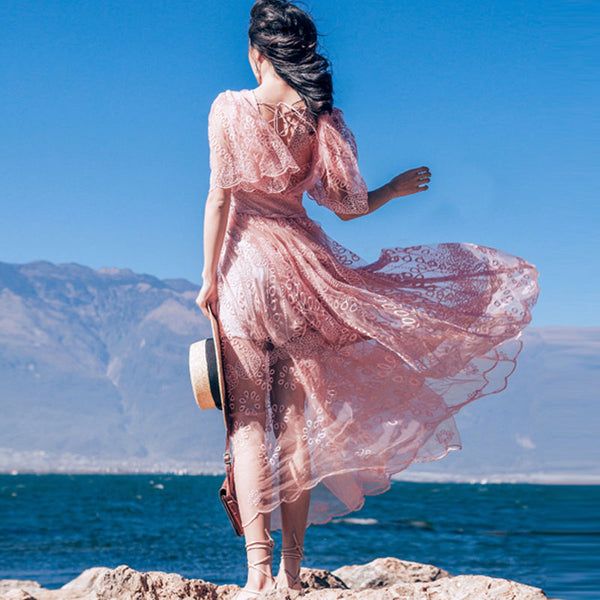 Pink mesh backless beach dresses - Fancyever
