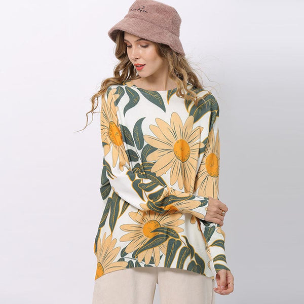 Plus size print pullover sweaters