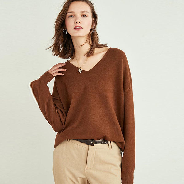 V-neck knitted sweaters - Fancyever