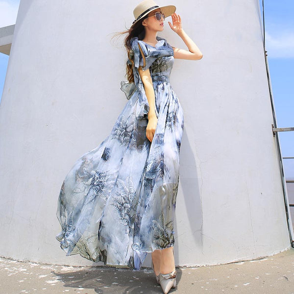 Print empire waist tied maxi dresses