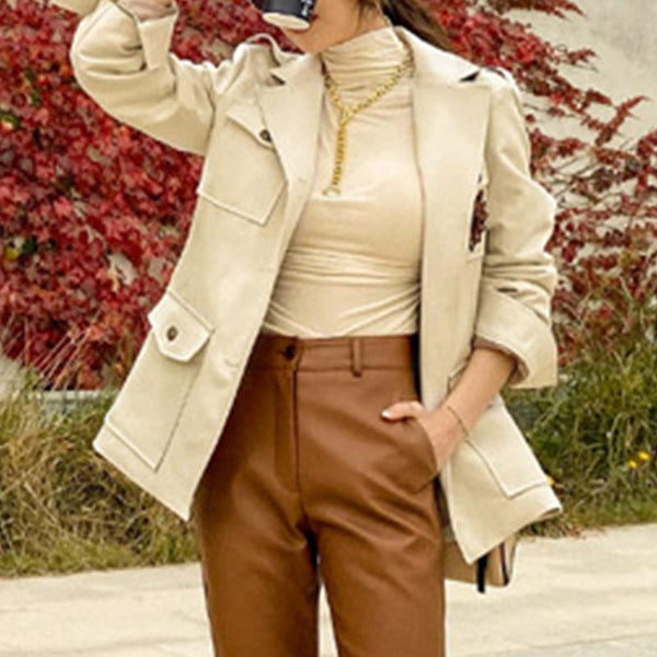 Single breasted lapel solid belted trench coats