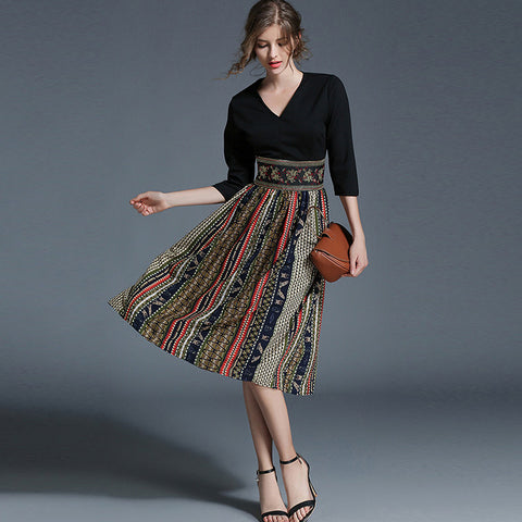 Retro v-neck splicing chiffon print dresses - Fancyever