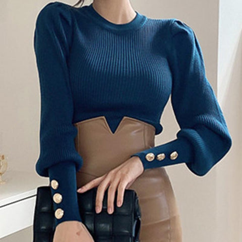 Crew neck pullover solid puff sleeve knit tops