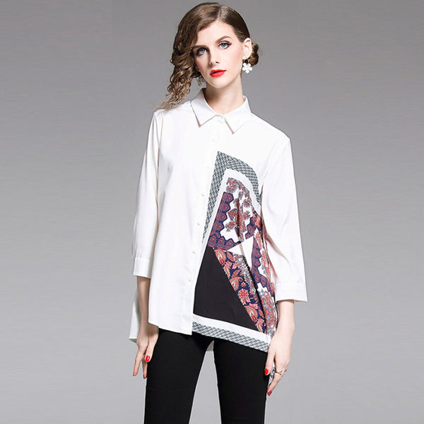 Print lapel single-breasted loose blouses