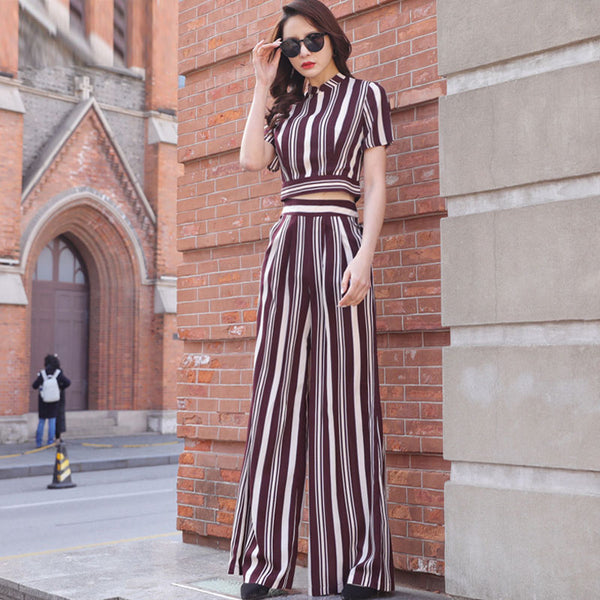Striped short sleeve pant suits