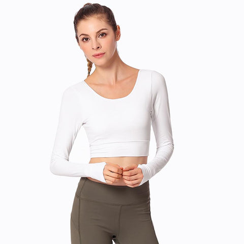 Cross back padded full sleeve cropped yoga dance sport tees - Fancyever