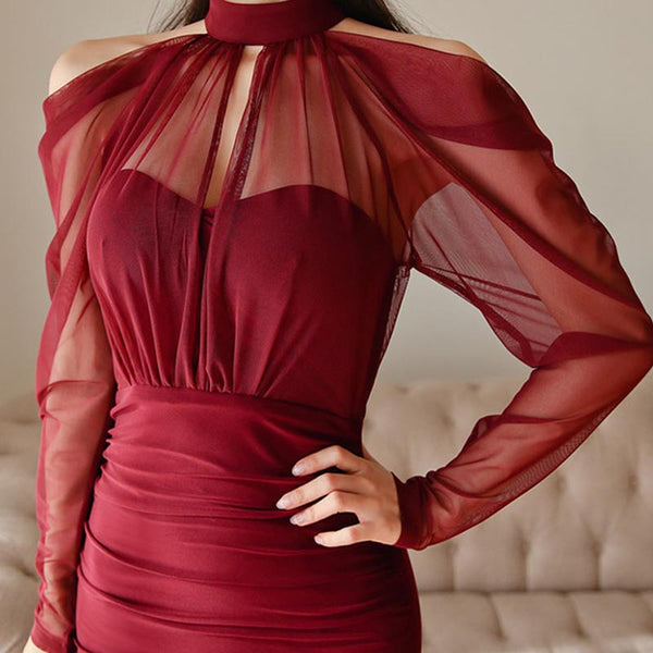 Halter neck openwork slit bodycon dresses