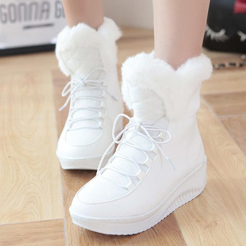 PU leather solid lace-up fur winter boots