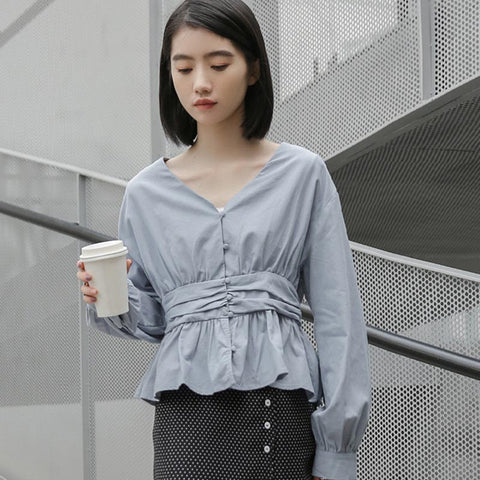 V-neck solid color ruffled blouses
