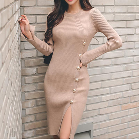 Crew neck solid split knitted bodycon dresses